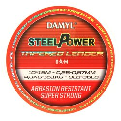Шок лидер конусный DAM DAMYL® STEELPOWER® Tapered Leader 0.30-0.57mm / 12-36lb